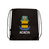 Black Drawstring Backpack-ACACIA Crest