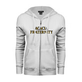 ENZA Ladies White Fleece Full Zip Hoodie-ACACIA Fraternity Stacked