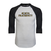 White/Black Raglan Baseball T-Shirt-ACACIA Fraternity Stacked