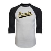White/Black Raglan Baseball T-Shirt-ACACIA Script