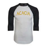 White/Black Raglan Baseball T-Shirt-ACACIA Arched