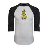White/Black Raglan Baseball T-Shirt-ACACIA Crest