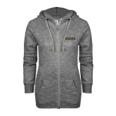 ENZA Ladies Grey/Black Marled Full Zip Hoodie-ACACIA