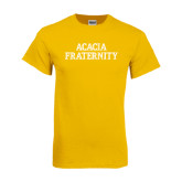 Gold T Shirt-ACACIA Fraternity Stacked