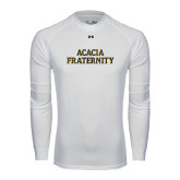 Under Armour White Long Sleeve Tech Tee-ACACIA Fraternity Stacked