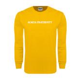Gold Long Sleeve T Shirt-ACACIA Fraternity