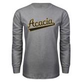 Grey Long Sleeve T Shirt-ACACIA Script