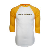 White/Gold Raglan Baseball T-Shirt-ACACIA Fraternity