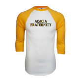 White/Gold Raglan Baseball T-Shirt-ACACIA Fraternity Stacked