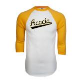 White/Gold Raglan Baseball T-Shirt-ACACIA Script