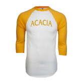 White/Gold Raglan Baseball T-Shirt-ACACIA Arched