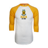 White/Gold Raglan Baseball T-Shirt-ACACIA Crest