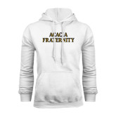White Fleece Hoodie-ACACIA Fraternity Stacked