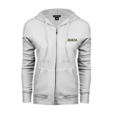 ENZA Ladies White Fleece Full Zip Hoodie-ACACIA
