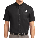 Black Twill Button Down Short Sleeve-A