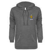 ENZA Ladies Dark Heather V Notch Raw Edge Fleece Hoodie-ACACIA Crest