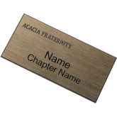 Brushed Gold w/ Black Name Badge-ACACIA Fraternity Engraved