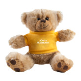 Plush Big Paw 8 1/2 inch Brown Bear w/Gold Shirt-ACACIA Fraternity Stacked