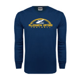 Navy Long Sleeve T Shirt-Arched Football Design
