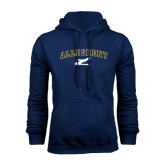 Navy Fleece Hoodie-Arched Allegheny with Gator Head
