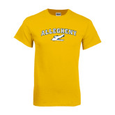 Gold T Shirt-Arched Allegheny with Gator Head