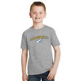 Youth Grey T-Shirt-Arched Allegheny with Gator Head
