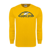 Gold Long Sleeve T Shirt-Arched Football Design