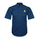 Navy Twill Button Down Short Sleeve-A