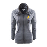 Ladies Sport Wick Stretch Full Zip Charcoal Jacket-A