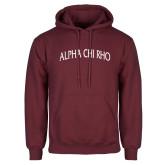 Maroon Fleece Hoodie-Alpha Chi Rho Arched