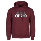 Maroon Fleece Hoodie-Alpha Chi Rho with shield