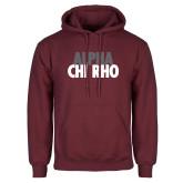 Maroon Fleece Hoodie-Alpha Chi Rho with shield