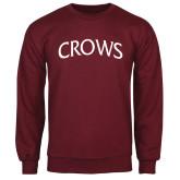 Maroon Fleece Crew-Crows Arched