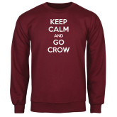Maroon Fleece Crew-Keep Calm Go Crow