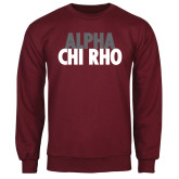 Maroon Fleece Crew-Alpha Chi Rho with shield