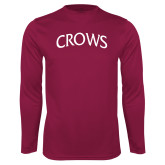 Performance Maroon Longsleeve Shirt-Crows Arched