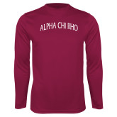 Performance Maroon Longsleeve Shirt-Alpha Chi Rho Arched