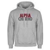 Grey Fleece Hoodie-Alpha Chi Rho with shield