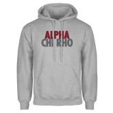 Grey Fleece Hoodie-Alpha Chi Rho with shield