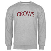 Grey Fleece Crew-Crows Arched