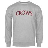 Grey Fleece Crew-Crows Arched