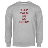 Grey Fleece Crew-Keep Calm Go Crow