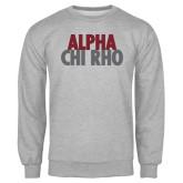Grey Fleece Crew-Alpha Chi Rho with shield