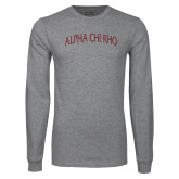 Grey Long Sleeve T Shirt-Alpha Chi Rho Arched