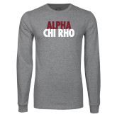 Grey Long Sleeve T Shirt-Alpha Chi Rho with shield