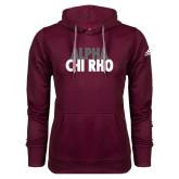 Adidas Climawarm Maroon Team Issue Hoodie-Alpha Chi Rho with shield