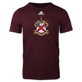 Adidas Maroon Logo T Shirt-Crest