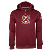 Under Armour Maroon Performance Sweats Team Hoodie-Crest