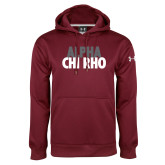 Under Armour Maroon Performance Sweats Team Hoodie-Alpha Chi Rho with shield