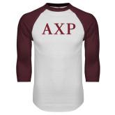 White/Maroon Raglan Baseball T Shirt-AXP